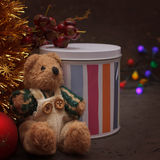 Christmas arrangement with a teddy bear and gifts Royalty Free Stock Images