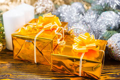 Christmas arrangement with two gift boxes Royalty Free Stock Images
