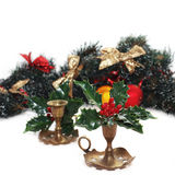 Christmas arrangement with vintage candlesticks Royalty Free Stock Photos
