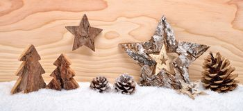 Christmas arrangement with wooden decoration stock image