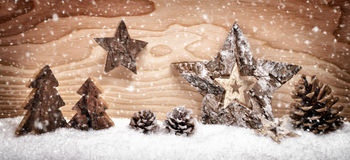 Christmas arrangement with wooden decoration Stock Photo