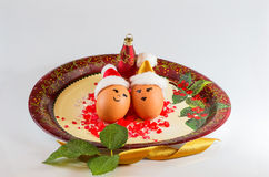 Christmas arrangements with eggs Stock Photography