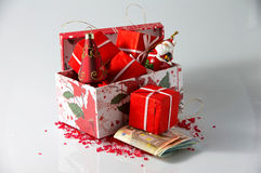 Christmas arrangements and money Stock Photos