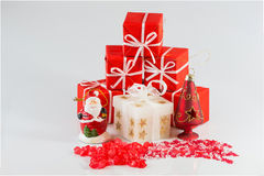 Christmas arrangements and star of red stones Stock Photos