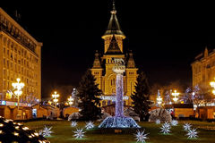 Christmas arrangements in Victory Square, Timnisoara, Romania Stock Photography