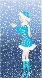 Christmas art. Beautiful santa-girl and snowfall Stock Photography