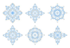 Christmas art.Blue snowflakes on white background Royalty Free Stock Photography