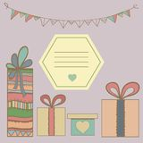 Christmas art gifts box colorful graphic with. Christmas gifts box colorful graphic with notepad frame. Hand drawn illustration Stock Image