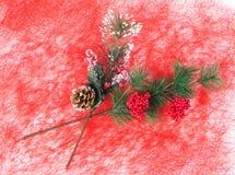 Christmas artificial branch closeup. Stock Photo