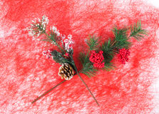 Christmas artificial branch closeup. Royalty Free Stock Images