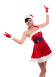 Christmas asian model girl on a white background Stock Image