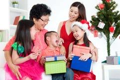 Christmas. Asian three generations family celebrating christmas Stock Photo