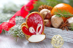 Christmas assortment with Santa Claus's mitten Royalty Free Stock Image