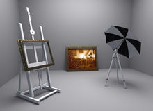 Christmas atelier. Render of painters atelier with one christmas theme picture Stock Photography