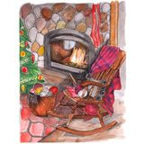Christmas atmosphere, armchair on the background of a fireplace vector illustration