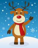 Christmas Atmosphere with Cute Reindeer. A merry Christmas greeting card with a happy Rudolph reindeer smiling in a snowy scene. Eps file available Stock Photo