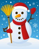 Christmas Atmosphere with Funny Snowman Stock Image