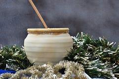 Christmas atmosphere on gold Stock Photos