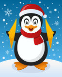 Christmas Atmosphere with Happy Penguin Stock Photography