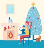 Christmas Atmosphere Poster on Vector Illustration. Christmas atmosphere, poster depicting mother and her kid looking at fireplace, evergreen tree with presents Stock Photography