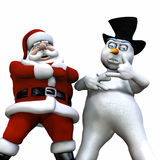 Christmas Attitude - Isolated. Santa and Snowman showing a little Christmas Attitude Stock Image