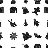 Christmas attributes and accessories black icons in set collection for design. Merry Christmas vector symbol stock web. Christmas attributes and accessories Royalty Free Stock Photo