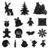 Christmas attributes and accessories black icons in set collection for design. Merry Christmas vector symbol stock web. Christmas attributes and accessories Royalty Free Stock Image