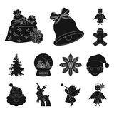 Christmas attributes and accessories black icons in set collection for design. Merry Christmas vector symbol stock web. Christmas attributes and accessories Stock Image