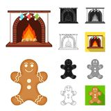 Christmas attributes and accessories cartoon,black,flat,monochrome,outline icons in set collection for design. Merry. Christmas vector symbol stock Royalty Free Stock Image