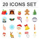 Christmas attributes and accessories cartoon icons in set collection for design. Merry Christmas vector symbol stock web. Christmas attributes and accessories Stock Images