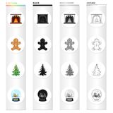 Christmas attributes and accessories cartoon icons in set collection for design. Merry Christmas vector symbol stock web. Christmas attributes and accessories Royalty Free Stock Photography