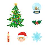 Christmas attributes and accessories cartoon icons in set collection for design. Merry Christmas vector symbol stock web. Christmas attributes and accessories Royalty Free Stock Images