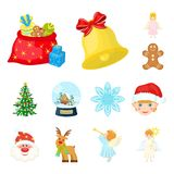 Christmas attributes and accessories cartoon icons in set collection for design. Merry Christmas vector symbol stock web. Christmas attributes and accessories Stock Photography