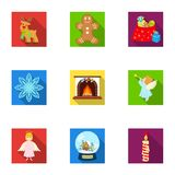 Christmas attributes and accessories flat icons in set collection for design. Merry Christmas vector symbol stock web. Christmas attributes and accessories flat Stock Image