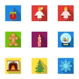 Christmas attributes and accessories flat icons in set collection for design. Merry Christmas vector symbol stock web. Christmas attributes and accessories flat Stock Images