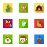 Christmas attributes and accessories flat icons in set collection for design. Merry Christmas vector symbol stock web. Christmas attributes and accessories flat Stock Photos
