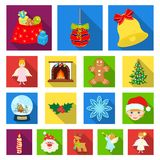 Christmas attributes and accessories flat icons in set collection for design. Merry Christmas vector symbol stock web. Christmas attributes and accessories flat Stock Photo