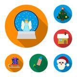 Christmas attributes and accessories flat icons in set collection for design. Merry Christmas vector symbol stock web. Christmas attributes and accessories flat Royalty Free Stock Photo