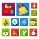 Christmas attributes and accessories flat icons in set collection for design. Merry Christmas vector symbol stock web. Christmas attributes and accessories flat Royalty Free Stock Photos