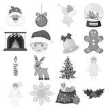 Christmas attributes and accessories monochrome icons in set collection for design. Merry Christmas vector symbol stock. Illustration Royalty Free Stock Photos