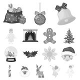 Christmas attributes and accessories monochrome icons in set collection for design. Merry Christmas vector symbol stock. Illustration Stock Image