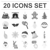 Christmas attributes and accessories monochrome icons in set collection for design. Merry Christmas vector symbol stock. Illustration Stock Photography