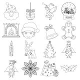 Christmas attributes and accessories outline icons in set collection for design. Merry Christmas vector symbol stock web. Christmas attributes and accessories Royalty Free Stock Photo