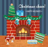 Christmas attributes. Christmas gift card. Christmas cheer. Flat design. Vector Royalty Free Stock Images