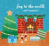 Christmas attributes. Christmas gift card. Joy to the world. Flat design. Vector Stock Image