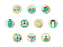 Christmas attributes round flat icons set. Set of round colored flat icons for Christmas and New Year attributes and accessories. Winter celebrations. Web design Stock Photography