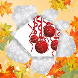 Christmas after autumn. Christmas and New Year background after autumn. Vector illustration. EPS 10 with transparency Stock Images