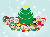 Christmas avatar composition around tree Royalty Free Stock Images