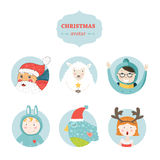 Christmas avatar. With santa claus, girl, boy, sheep and bird. Vector illustration isolated on white background for design vector illustration