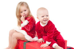 Christmas babies. Studio shot of cute little christmas babies Stock Photo